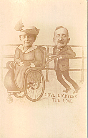 Comical Couple Using Rolling Chair,postcard