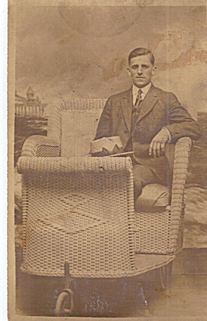 Gentleman In Wicker Rolling Chair,postcard P30613