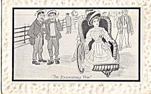 Comical Postcard With Lady In Wicker Rolling Chair