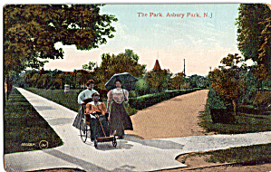 Lady In Wicker Rolling Chair Postcard P30627