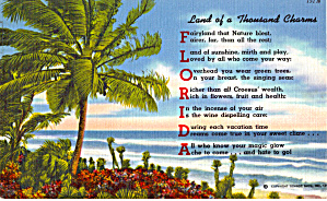 Florida, Land of a Thousand Charms Poem Postcard p30820 (Image1)