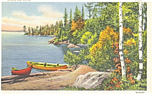Lake Scene Linen Card Postcard (Image1)