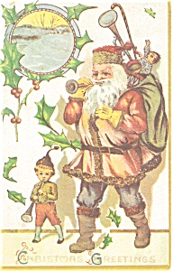 Santa in Pink Christmas Postcard (Image1)