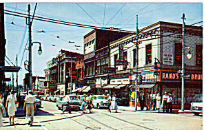 Wilkinsburg,pennsylvania,downtown, Penn And Wood Streets,shops,cars 50s