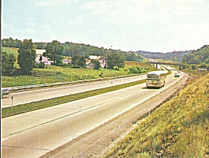 Pennsylvania Turnpike Near Ohio River, HOWARD JOHNSON card (Image1)