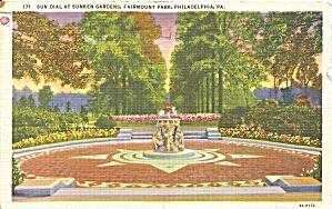 Philadelphia PA Fairmont Park Sunken Gardens Sun Dial p31191 (Image1)