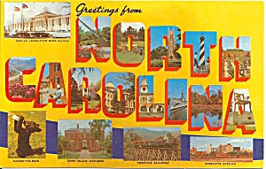 Big Letter Post Card Of North Carolina P31202