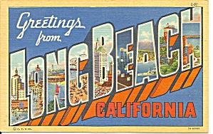Big Letter Postcard, Long Beach California P31326