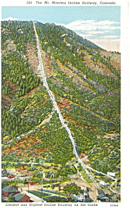 Incline Railway  Mt Manitou CO Postcard p3136 (Image1)
