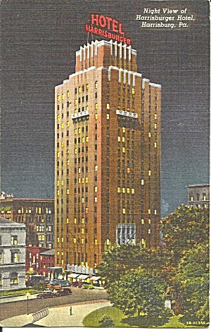 The Harrisburger Hotel at night, Harrisburg, Pennsylvania (Image1)