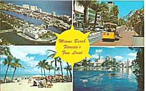 Miami Beach Florida Four Views Postcard p31621 (Image1)