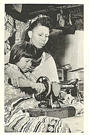 Seminole Mother Teaching Daughter To Sew P31756