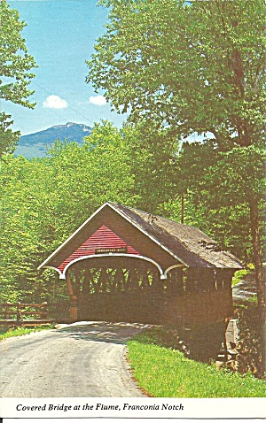Franconia Notch Nh Covered Bridge At Flume Postcard P31762