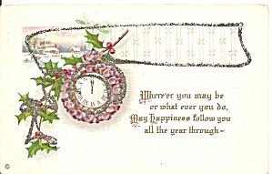 Vintage New Years Card with Glitter p31778 (Image1)
