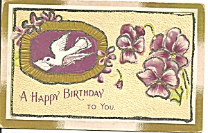 A Happy Birthday Card With A Dove P31788