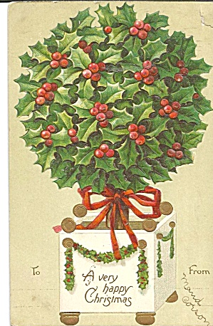 A Very Happy Christmas Postcard 1908 (Image1)
