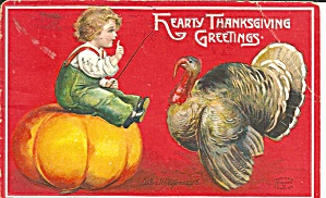 Small Boy with Turkey Thanksgiving Postard 1909 p31808 (Image1)