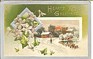 Hearty Xmas Greetings Vintage Emossed Card (Image1)