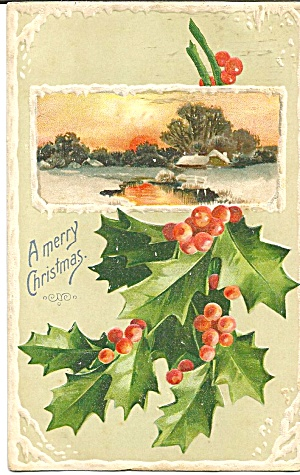 Christmas Postcard Embossed p31812 Early 1900s (Image1)