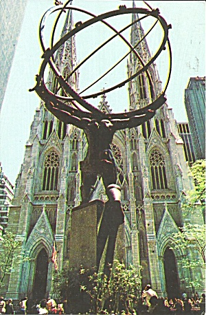 New York City St Patrick S Cathedral Atlas Statue P31859