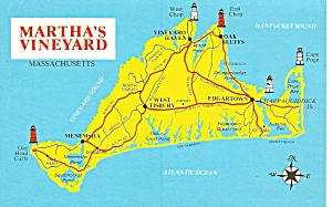 Martha s Vineyard Massachusetts Map Postcard p31993 (Image1)