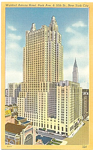 New York  City  Waldorf Astoria Hotel  Linen Postcard p32002 (Image1)