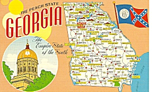 Georgia State Map On Postcard P32076