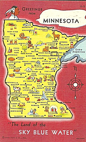 State Map of Minnesota Postcard p32091 (Image1)
