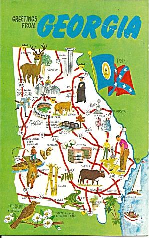 State Map of Georgia Postcard p32092 (Image1)