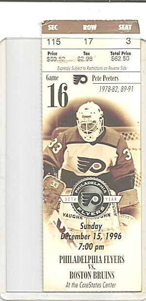 Boston Bruins Ticket Stub vs Flyers Dec 15 1996 p32161 (Image1)