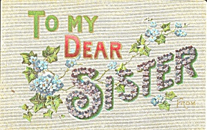 To My Dear Sister Divided Back Postcard p32175 (Image1)