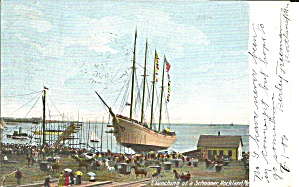 Launching of a Schooner  Rockland  Maine p32189 1906 (Image1)