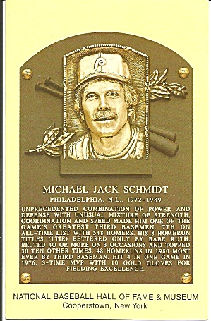 Plaque Of Mike Schmidt When Elected To Hall Of Fame