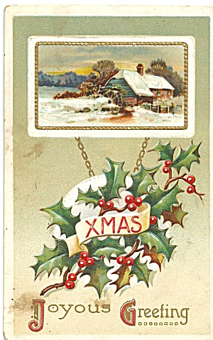 Vintage Christmas Postcard Snow Scene (Image1)