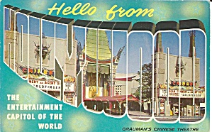 Hollywood California Big Letter Postcard P32391
