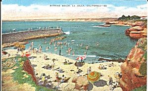 La Jolla California Bathing Beach Linen Postcard p32395 (Image1)