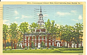 Us Navy, Norfolk Va Officers Mess Postcard P32589