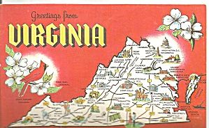 Virginia State Map Postcard (Image1)