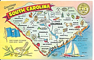 State Map of South Carolina Postcard (Image1)