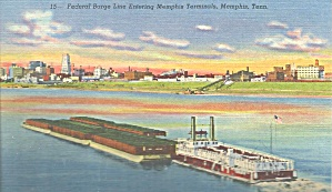 Memphis TN Federal Barge Line Barge of RR Cars and Tug p32663 (Image1)