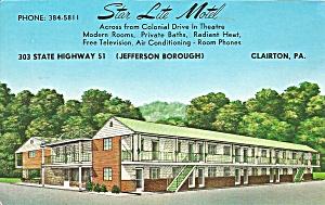 Pittsburgh PA  Star Lite Motel Postcard p32725 (Image1)