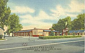 Denver CO Overland Court Motel Postcard p32726 (Image1)