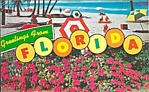 Florida Beach Scene And Flowers
