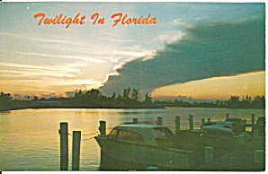 Florida Twilight Scene Waterway and Boat p32806 (Image1)