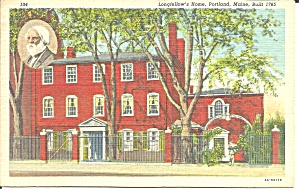 Portland Maine Longfellow S Home Postcard P32851 1956