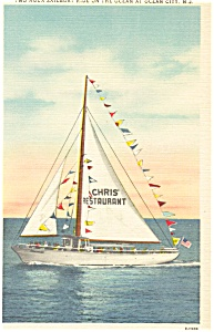 Sailboat at Ocean City NJ Postcard p3288 (Image1)