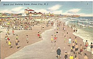 Ocean City NJ Beachfront and Bathing Scene p32923 (Image1)