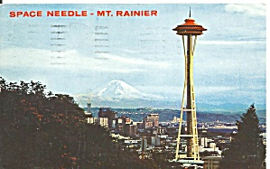 Seattle World S Fair Space Needle Mt Rainier Postcard P32947