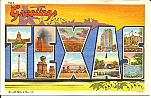 Texas Big Letter Linen Postcard P33047 1939