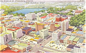 St Petersburg FL Air View Postcard p3318 1963 (Image1)